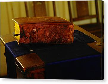Holy Bible In Lincoln City Canvas Print by Jeff Swan