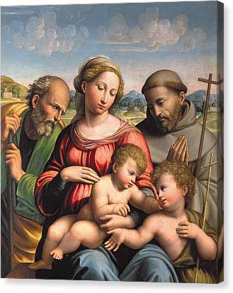 Holy Family With The Infant St. John The Baptist And St. Francis Canvas Print by Innocenzo da Imola