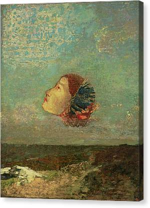 Homage To Goya, C.1895 Oil On Card Mounted On Canvas Canvas Print by Odilon Redon