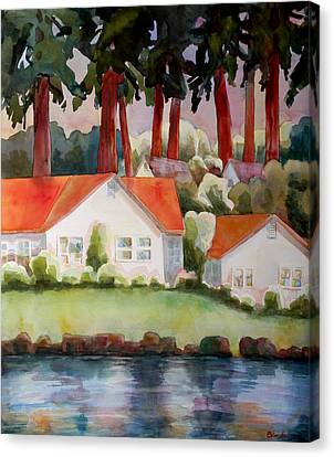 Home By The Lake Canvas Print by Blenda Studio