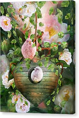 Home In The Roses Canvas Print by Carol Cavalaris