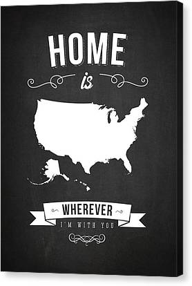 Home Is Wherever I'm With You Usa - Dark Canvas Print by Aged Pixel