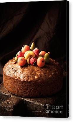 Homemade Rich Fruit Cake Canvas Print by Amanda Elwell