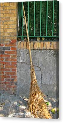 Homemade Straw Broom Canvas Print by John Malone