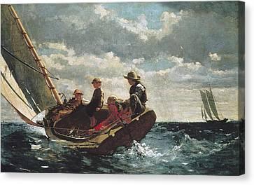 Homer, Winslow 1830-1910. Breezing Up A Canvas Print by Everett