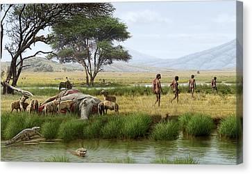 Homo Ergaster Hunters Canvas Print by Mauricio Anton