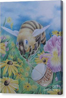 Honeybee With Daisies Canvas Print by Charity Goodwin