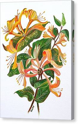 Mothers Day Gift Ideas Canvas Print featuring the painting Honeysuckle by Tracey Harrington-Simpson