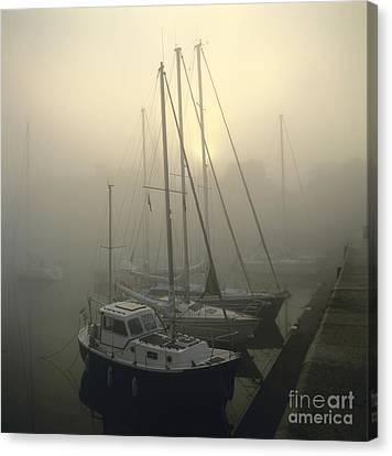 Honfleur Harbour In Fog. Calvados. Normandy Canvas Print by Bernard Jaubert