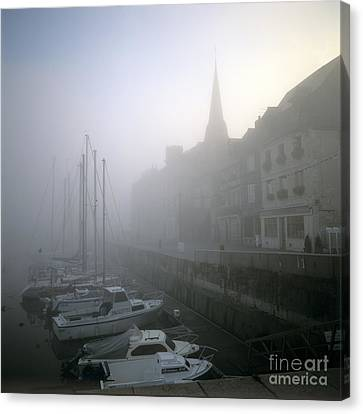Honfleur Harbour In Fog. Calvados. Normandy. France. Europe Canvas Print by Bernard Jaubert