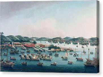 Hong Kong Harbor Canvas Print by Cantonese School
