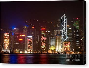 Hong Kong Holiday Skyline Canvas Print by Ei Katsumata