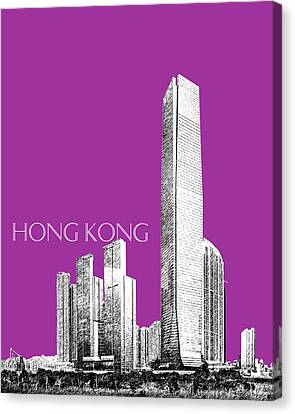Hong Kong Skyline 2 - Plum Canvas Print by DB Artist
