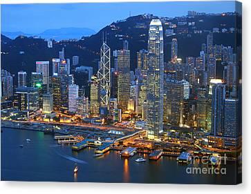 Hong Kong Skyline At Night Canvas Print by Lars Ruecker