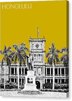 Honolulu Skyline King Kamehameha - Gold Canvas Print by DB Artist