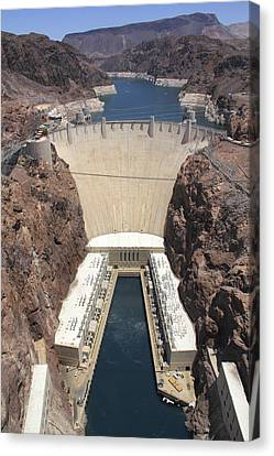 Colorado River Canvas Print featuring the photograph Hoover Dam by Mike McGlothlen