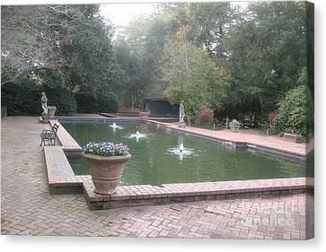 Hopeland Gardens Fountain - Aiken South Carolina Canvas Print by Kathy Fornal