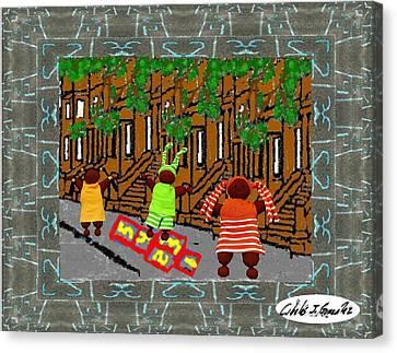Hopscotch In Harlem Canvas Print by Cibeles Gonzalez
