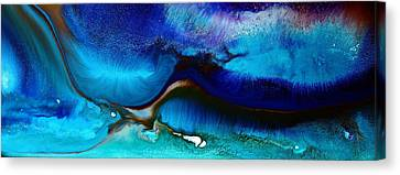 Horizontal Abstract Art Just Blue By Kredart Canvas Print by Serg Wiaderny