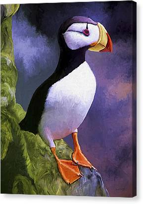 Horned Puffin Canvas Print by David Wagner