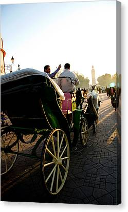 Horse And Buggy In The Al Fna Square Marr Canvas Print by David Smith