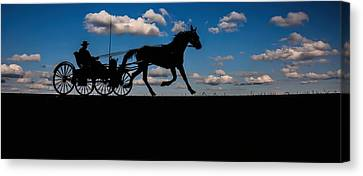 Horse And Buggy Mennonite Canvas Print by Henry Kowalski
