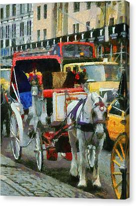 Horse And Carriage In New York City Canvas Print by Dan Sproul
