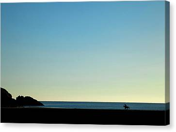Horse And Rider On Stradbally Beach Canvas Print by Panoramic Images