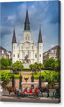 Horse Carriage At Jackson Square Canvas Print by Inge Johnsson