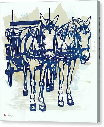 Horse Carriage - Stylised Pop Modern Etching Art Portrait Canvas Print by Kim Wang