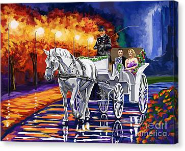Horse Drawn Carriage Night Canvas Print by Tim Gilliland