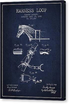 Horse Harness Loop Patent From 1885 - Navy Blue Canvas Print by Aged Pixel