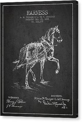 Horse Harness Patent From 1885 - Charcoal Canvas Print by Aged Pixel