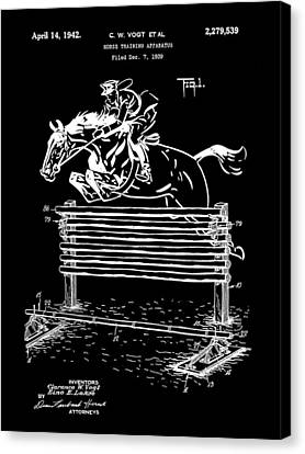 Horse Jump Patent 1939 - Black Canvas Print by Stephen Younts