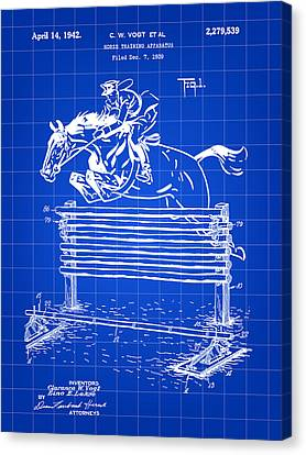 Horse Jump Patent 1939 - Blue Canvas Print by Stephen Younts