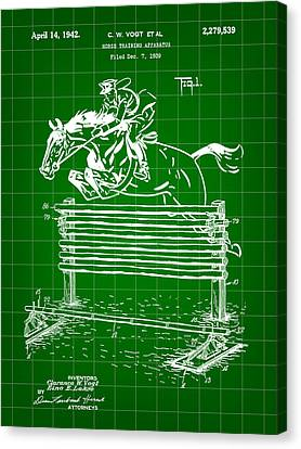 Horse Jump Patent 1939 - Green Canvas Print by Stephen Younts