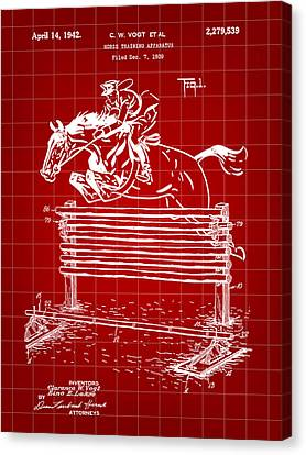 Horse Jump Patent 1939 - Red Canvas Print by Stephen Younts