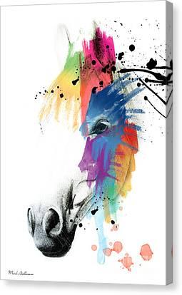 Horse On Abstract   Canvas Print by Mark Ashkenazi