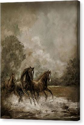 Horse Painting Escaping The Storm Canvas Print by Gina Femrite