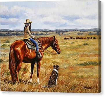 Horse Painting - Waiting For Dad Canvas Print by Crista Forest