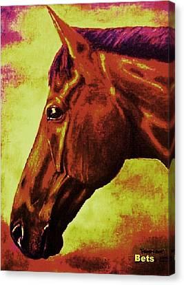 horse portrait PRINCETON purple brown yellow Canvas Print by Bets Klieger