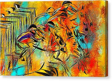 Horse Racing Colorful Abstract  Canvas Print by Lourry Legarde