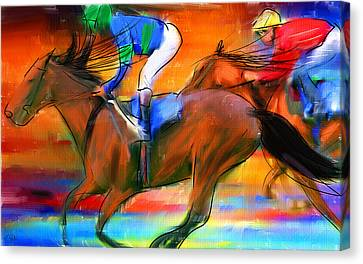 Horse Racing II Canvas Print by Lourry Legarde