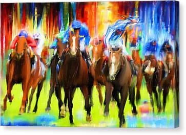 Horse Racing Canvas Print by Lourry Legarde
