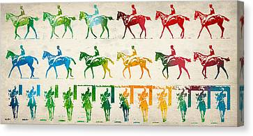 Horse Rider Locomotion Canvas Print by Aged Pixel