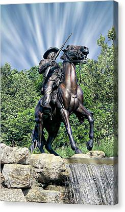 Horse Soldier Monument Canvas Print by Anthony Dezenzio