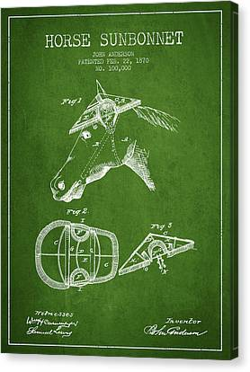 Horse Sunbonnet Patent From 1870 - Green Canvas Print by Aged Pixel