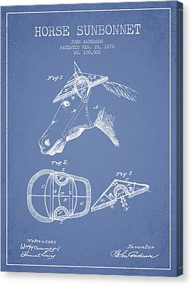 Horse Sunbonnet Patent From 1870 - Light Blue Canvas Print by Aged Pixel