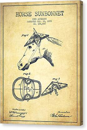 Horse Sunbonnet Patent From 1870 - Vintage Canvas Print by Aged Pixel