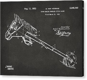 Horse Toy Patent Artwork 1953 - Gray Canvas Print by Nikki Marie Smith